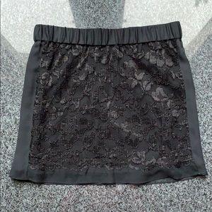 Diane Von Furstenberg Black Lace Mini Skirt